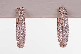 gold diamond hoop earrings e79412 14k gold pave diamond hoop earrings details