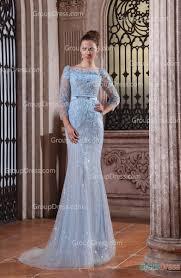 baby blue flower long sleeve mermaid gorgeous evening dress