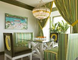 Dining Room Curtains Hanging Chandelier Over Glass Top Dining Table With Stripes Sofas