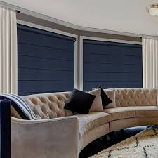 Woven Wood Roman Shades On Arched Window Premier Blackout Cord Free Roman Shades From Selectblinds Com