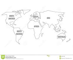 Blank Continent Map Simplified Black Outline Of World Map Divided To Six Continents
