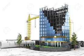 abstract 3d of building development concept office building