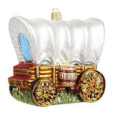 western covered wagon stagecoach glass tree