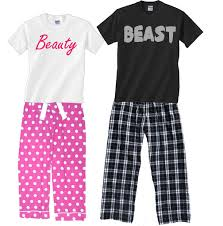 beast matching couples pajamas footsteps clothing