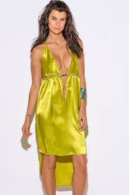 baby doll dresses shop charteuse yellow satin bejeweled backless v neck