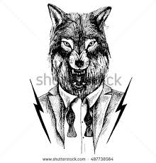 lone wolf growling tuxedo unleashed bow stock vector 487738564