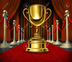 Velvet Curtains Golden Cup On A Red Carpet With Velvet Curtains As A Reward For