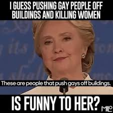 Gay Bear Meme - caught hillary clinton laughs at gay s being thrown off roofs