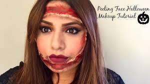 peeling face halloween makeup tutorial youtube