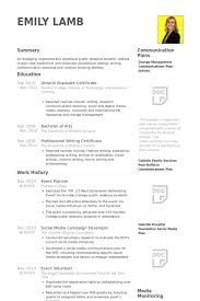 event planner resume event planner resume sles visualcv resume sles database