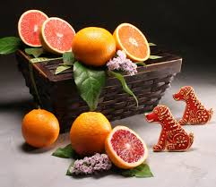 new years basket or lunar new year basket year of the dog citrus and
