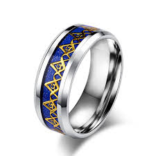 blue steel rings images 8mm blue black resin inlay gold color masonic freemason rings jpg