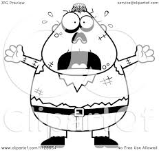 halloween images black and white cartoon clipart of an outlined frightened halloween zombie black