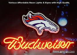 nfl denver broncos budweiser bar neon light sign nfl