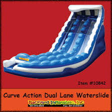 curve action dual lane water slide backyard inflatables