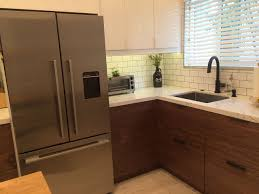 kitchen ideas from ikea walnut doors from semihandmade give this ikea kitchen a mid
