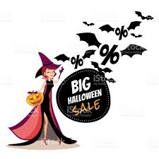 halloween sale banner with cartoon witch and flying bats stock