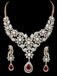 diamond necklace earring set images Fine party bridal wear necklace earrings set with ruby pearl jpg