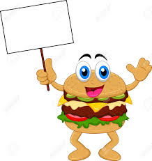 burger cartoon characters with blank sign royalty free cliparts