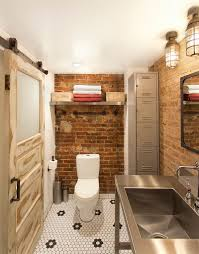 designing small bathroom shapes small industrial bathroom with exposed brick walls design