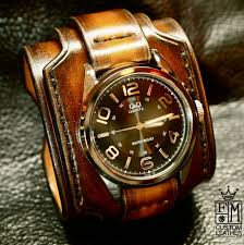 B And Q Bathroom Accessories by Leather Cuff Watch Brown Tobacco Sunburst Wide Layered Brown