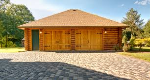 log home under construction two car garage