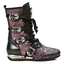 ladies black biker boots black u0026 purple leather hybrid boots w skull buckles may take up