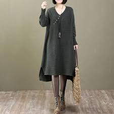 v neck sleeve cotton green sweater dress buykud