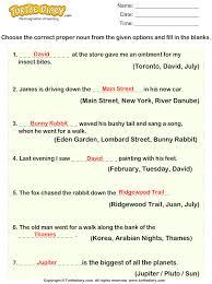 choose proper noun for given sentences worksheet turtle diary