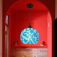 Large Glass Pendant Lights Blue Shell And Glass Shade Modern Large Pendant Lights