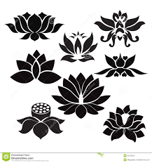 Flower Tattoos On - lotus flowers illustration on white background stock