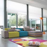 Orange Floor L Living Room Cheerful Living Room Idea With Cozy L Shaped Sofa And