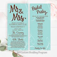 custom wedding programs teal wedding program 4x9 wedding program l custom wedding program