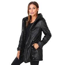 womens la s warm faux fur lined leather hooded long winter parka