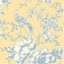wallpaper blue and white etched exotic bird toile on yellow