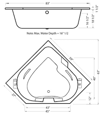 Bathtubs Sizes Standard Aquamarine Corner Two Person Air Tub Leisure Concepts