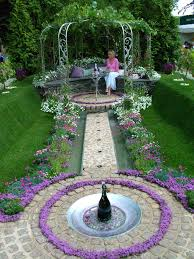 beautiful flower garden with fountain emfaiz decorating clear