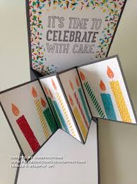 stampin u0027 up pop up panel card party with cake build a birthday