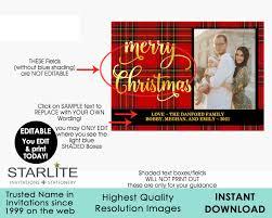 plaid tartan photo christmas card tartan plaid gold editable instant download