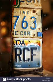 license plates of automobiles as design of restaurant stock photo