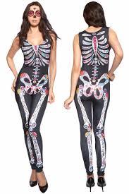 Sugar Skull Halloween Costumes Sugar Skull Womens Halloween Catsuit Costume Lc8854