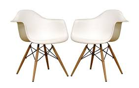 Legs For Armchairs Of Two Baxton Studio Fiorenza White Plastic Armchairs With Wood