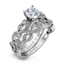 wedding ring set for 18k gold delicate floral design engagement ring set duchess