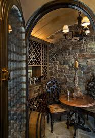 small stone wine cellar with decorative useful tasting table