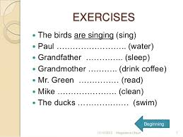 present progressive tense examples sentences