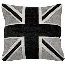 British Flag Pillow Just Contempo Union Jack Cushion Cover Black 18x18 Inches