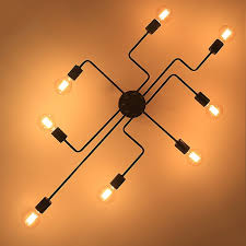 industrial semi flush mount lighting provide innovation and energy for your home with this spider like