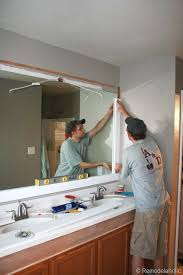 How To Frame A Bathroom Mirror With Crown Molding Remodelaholic Framing A Large Bathroom Mirror