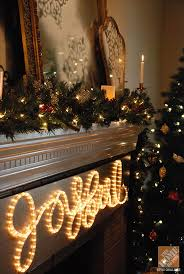 a classic mantel white lights and brass accents