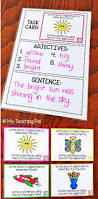 adjective task cards brainstorming and sentence writing cards